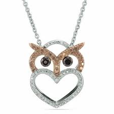 enhanced black champagne and white diamond accent beaded owl heart pendant in sterling silver