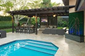 backyard designs with pool and outdoor kitchen. Perfect Outdoor Outdoor Kitchen And Pergola Project In South Florida U2013 Traditional Pool  Designs  Home In Backyard Designs With Pool And A