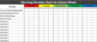 Chart Downloads Free Free Morning Routine Chart For Kids Excel Template Trees