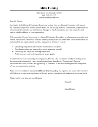 Job Accomplishments List Best General Contractor Cover Letter Examples Livecareer