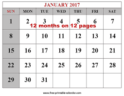 free printable 12 month calendar free printable 2017 calendars download free 2017 12 month calendar