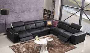 genuine leather reclining furniture sofa with two power motions and adjustable headrests