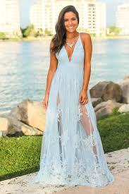 Light Maxi Dress Light Blue Floral Tulle Maxi Dress With Criss Cross Back