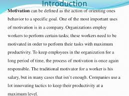 a case study on employee motivation  4 introduction motivation can be defined