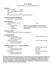 Sample College Application Resumes High School Resume For College Examples College Admission Resume