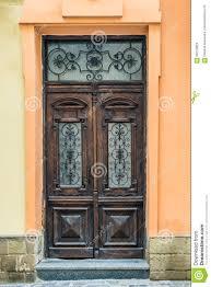 front view closed doors old wooden decorative door in lviv ukraine