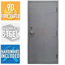 Armor Door 36 in. x 84 in. Fire-Rated Gray Left-Hand Flush Steel ...