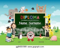 Kids Certificate Border Eps Vector School Kids Diploma Certificate Template With