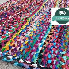 braided bright cotton rag rug bathroom kitchen or welcome mat a