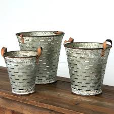 metal olive buckets with handles set of 3 bucket galvanized shutter wall decor
