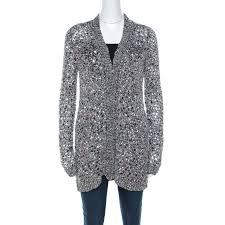 Zac Posen Silver Sequin Embellished Knit Long Sleeve Cardigan L