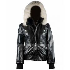 er womens fur black leather hooded jacket