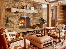 rustic living room idea in salt lake city with a standard fireplace and a stone fireplace