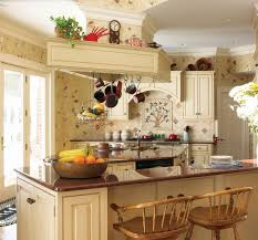 Country Kitchen Wallpaper Patterns Pretty Country Kitchen Ideas With Brown Pattern Wallpaper And