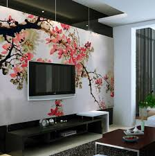 Wall Mural For Living Room Chinese Cherry Blossom Art Decal Wall Mural With Lcd Tv For Your