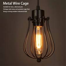 Us 25 20 Offvintage Lamp Covers Metal Wire Shades Antique Pendant Led Bulb Chandelier Cage Industrial Ceiling Hanging Guard Cafe Bars Lamp In Lamp