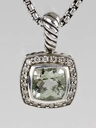 david yurman 7mm prasiolite and diamond petite albion pendant necklace