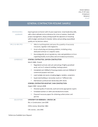 Sample Resume General Contractor