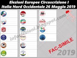 Info Elezioni: Fac-Simile scheda elezioni Europee 2019