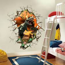 living room fabulous 3d wall decor stickers cartoon dinosaur sticker for boys child art with