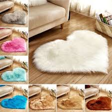 uk love heart shaped faux fur fluffy anti skid area rug carpet bedroom floor mat