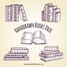 hand drawn books pack free vector
