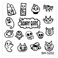 Halloween Square Nail Art Stamping Plates - BM-S202, Scary Cute ...