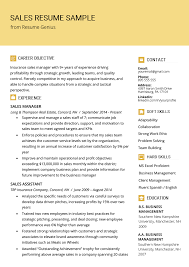 Objective For Resume In Sales Sales Resume Samples Writing Tips Resume Genius
