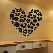 leopard print decor heart wall decal