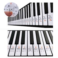 61 Key Keyboard Note Chart Us 1 48 10 Off Transparent 37 49 61 88 Keys Electronic Keyboard Sticker Piano Stave Note Sticker Notation Version Sheet Music For White Keys In