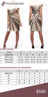 Escada Size Chart Nwt Escada Designer Silk Cocktail Dress Knot Gorgeous New