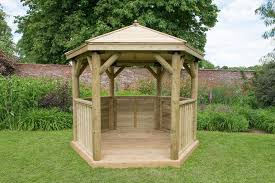 hexagonal wooden garden gazebo