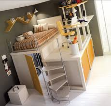 Marvelous Grey And Yellow Bedroom Decoration Using Yellow Cool Teenage Bunk  Bed Including Decorative Wall Wave