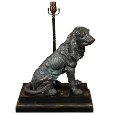 exquisite vintage bronze hound dog table lamp on marble and wood base