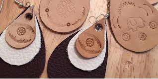 gypsy boho leather stamped earrings jewellery work