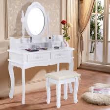 vanity table. Goplus White Vanity Jewelry Makeup Dressing Table Set W/Stool 4 Drawer Mirror Wood Desk