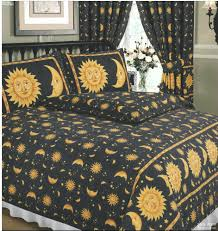 staroon childrens bedding single bed duvet cover set sun and moon black yellow gold