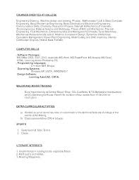Computer Skills Example Extra Curricular Activities In Resume Sample Math Character