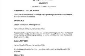Golf Caddy Resume Template 8 Free Samples, Examples, Format