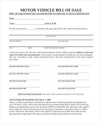 Free 9 Sample Motor Vehicle Bill Of Sale Forms Pdf