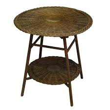 round wicker two tier side table at 1stdibs round white wicker end table