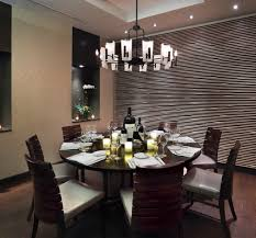 contemporary dining room light fixtures for low ceilings above large round dining table with 8 chairs