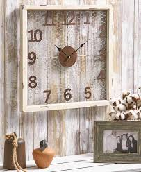 rustic farm house country style en wire metal wall clock hanging