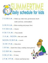 Free Printables Summertime Daily Schedule And Chore Chart