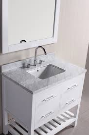 white wooden vanity with grey marble top and rectangular sink on