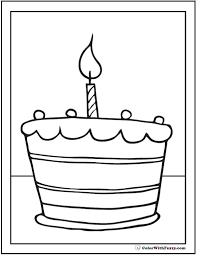 Small Picture Birthday Cake To Color Birthday Cake Coloring Page Printablegif