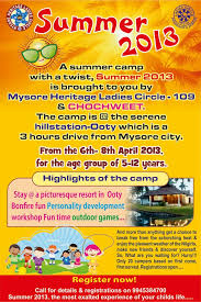 Summer Camp Pamplets Summer Camp By Mhlc109 Ooty Ladies Circle India