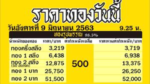 ราคาทองคำวันนี่ วันอังคารที่ 9 มิถุนายน 2563 ราคาทองแท่งบาทละ  ราคาทองรูปพรรณวันนี้ 9/6/63 ล่าสุด - YouTube