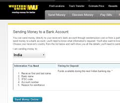 India Bank To Sending Send Accounts Money In Directly Westernunion -