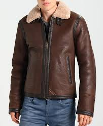 men s aviator leather jacket with fur collar
